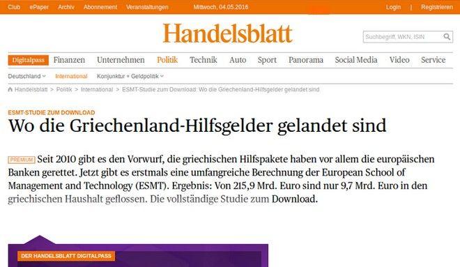 Handelsblatt: The memoranda rescued European banks, not Greece
