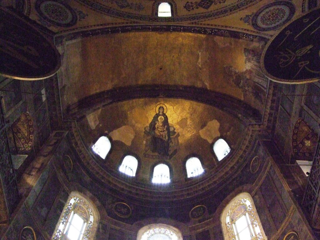 Call to Muslim prayer chanted from inside Hagia Sophia