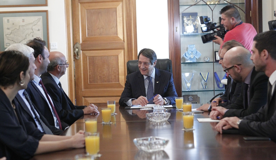 Cyprus President receives Turkish Cypriot Communal Democracy Party delegation