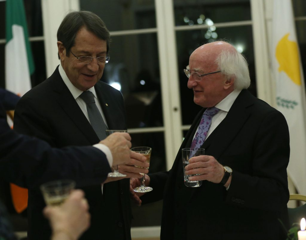 Anastasiades attends official dinner hosted by the President of Ireland