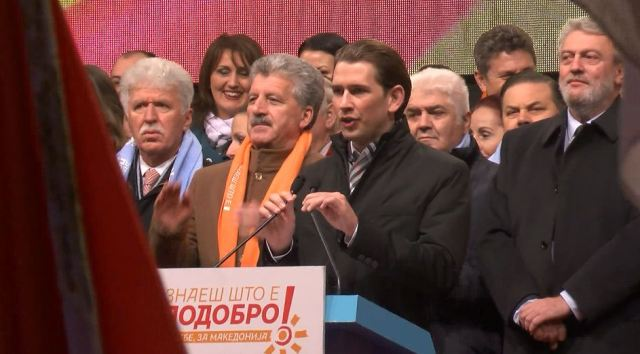 Austrian Foreign Minister participates in VMRO-DPMNE's rally in Skopje, reactions and comments