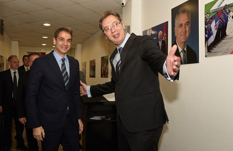ND leader Mitsotakis meets Serb PM Vucic