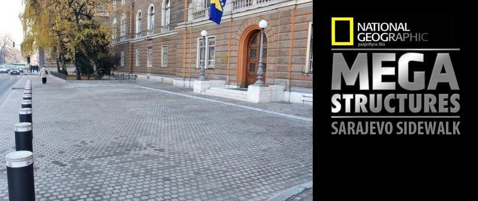"""Opening"" of sidewalk in Sarajevo"