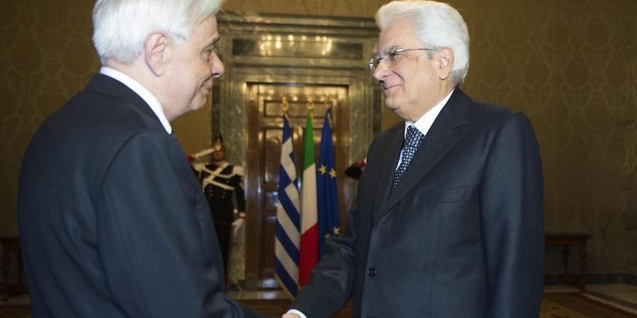 Greek President Pavlopoulos meets Italian counterpart Mattarella