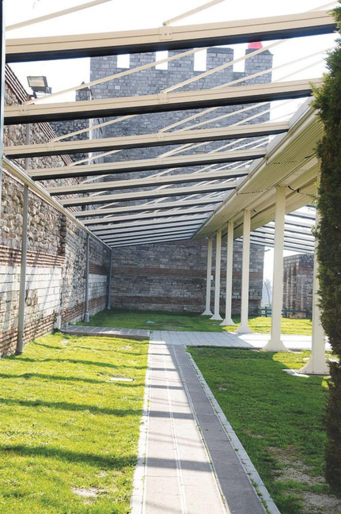 Pergolas have been built at the walls of Istanbul to host wedding ceremonies