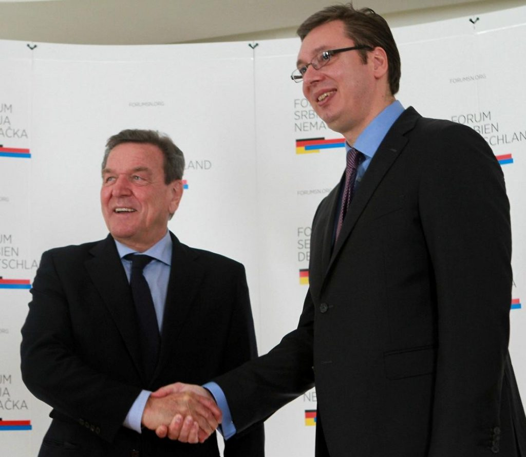Schroeder at Vucic's election convention