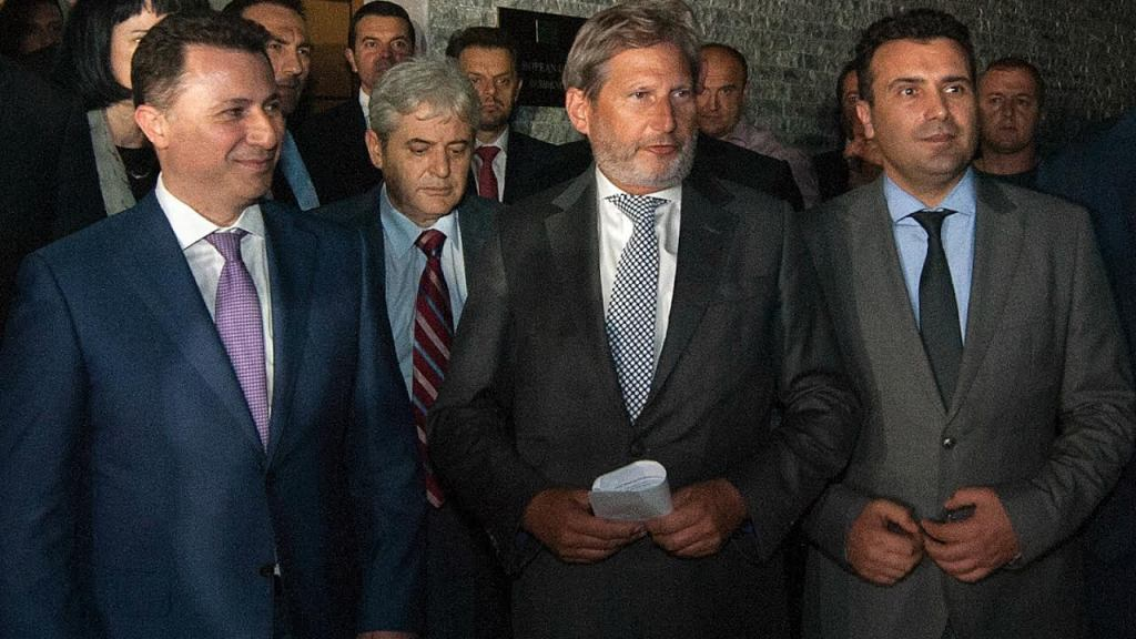 Political debates ahead of European Commissioner Hahn in Skopje