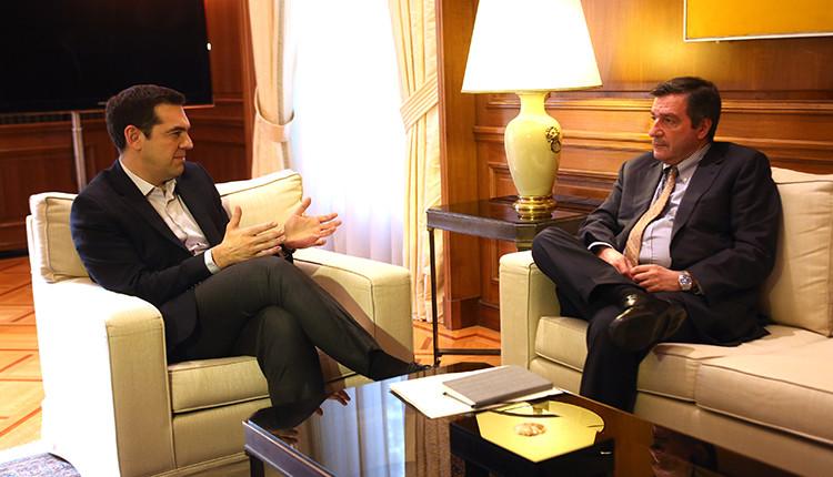 Alexis Tsipras meets Athens Mayor Giorgos Kaminis