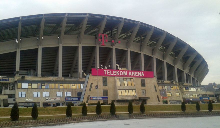 Skopje's stadium prepares for the match between Real Madrid and Manchester United