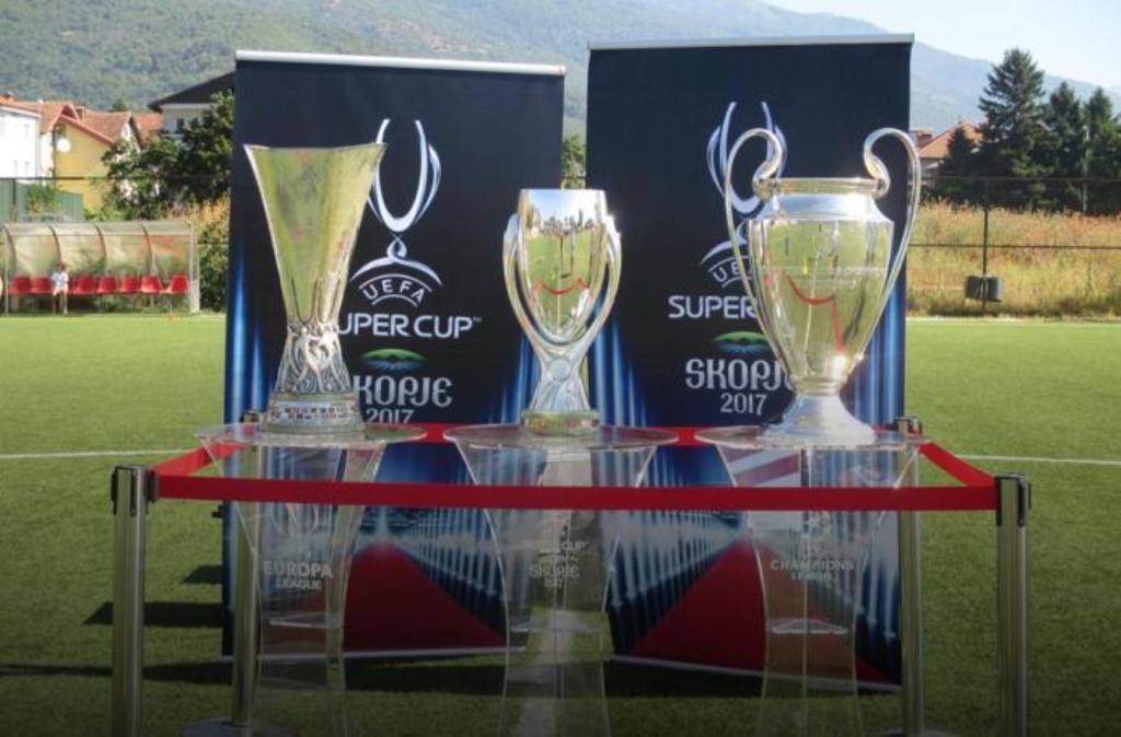 UEFA's trophies displayed in Tetovo