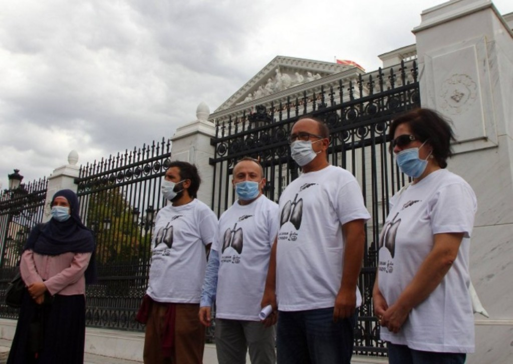 A march against pollution in Skopje