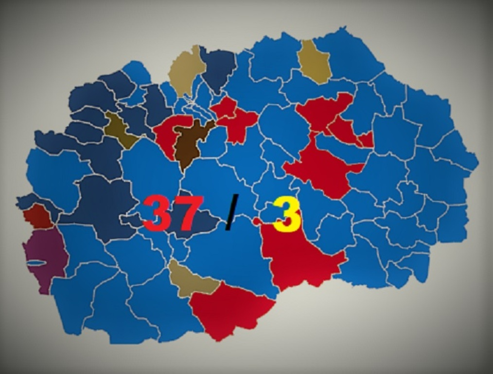 SDSM wins in 37 communes, VMRO-DPMNE wins in 3 communes, 35 communes to head to runoff