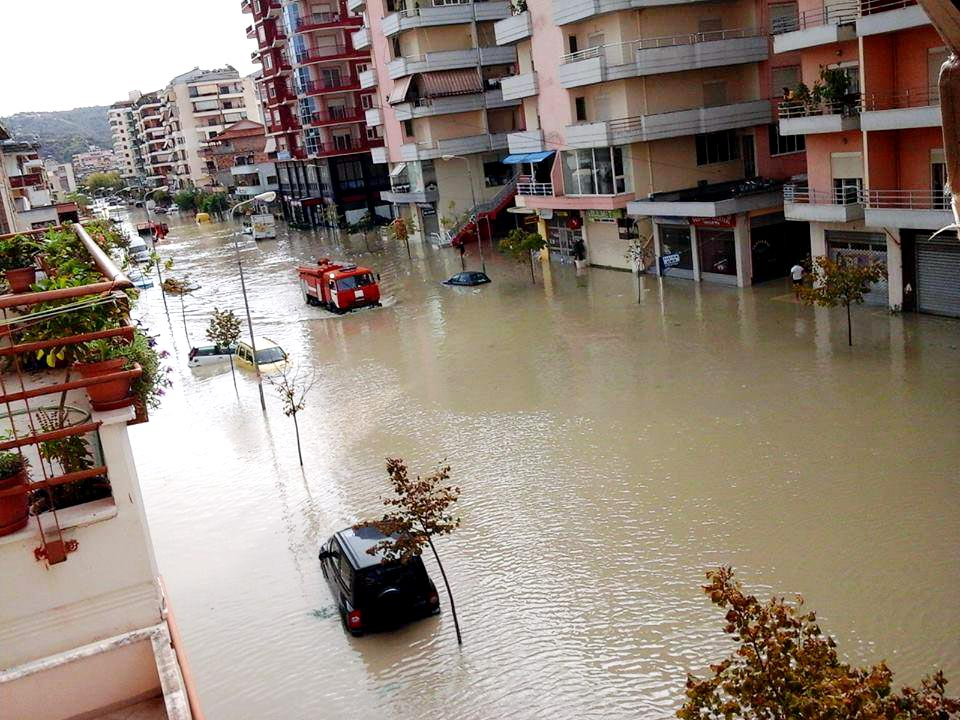 Rain flooding in many areas in Albania