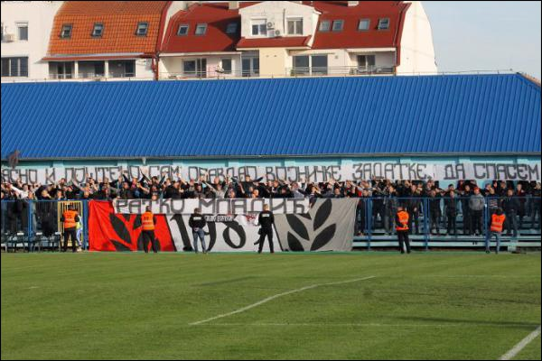 Red Star Belgrade fans chant in support of Mladic