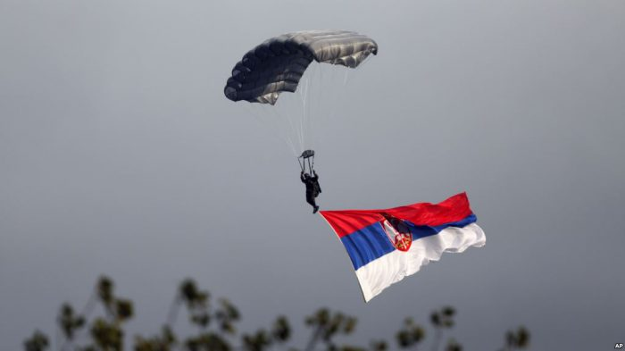 Serbian and U.S. paratroopers in joint drill