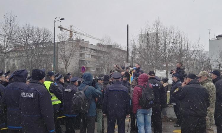 Police officers protest in Sarajevo