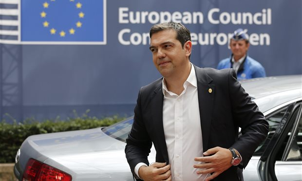 Alexis Tsipras at the Euro Summit in Brussels