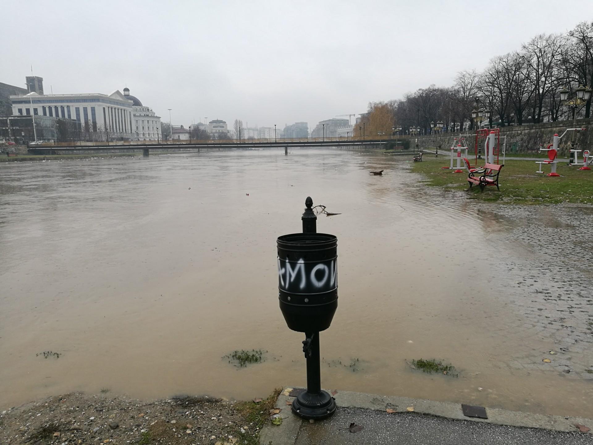 Vardar River floods the central part of Skopje