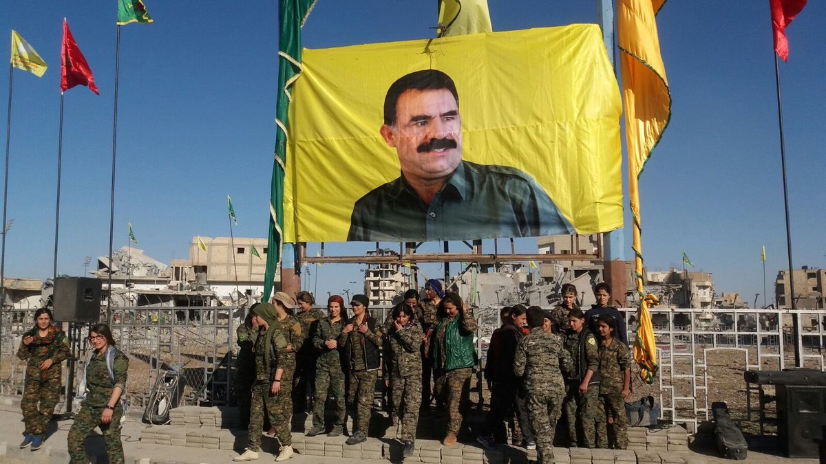 Abdullah Ocalan's 'monument' in Afrin destroyed
