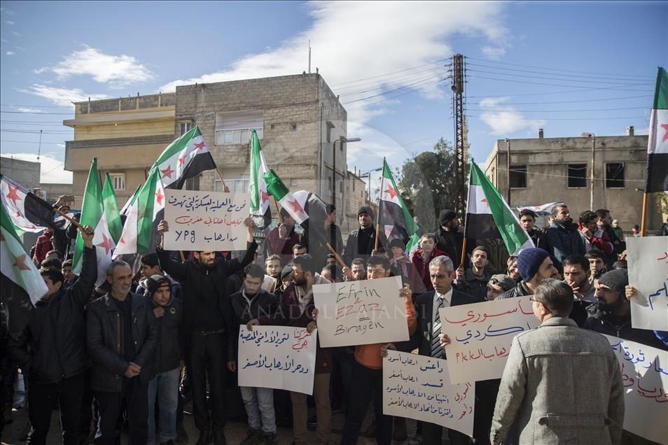 Syrians in Azaz persistently ask for Turkish intervention against PYD/PKK