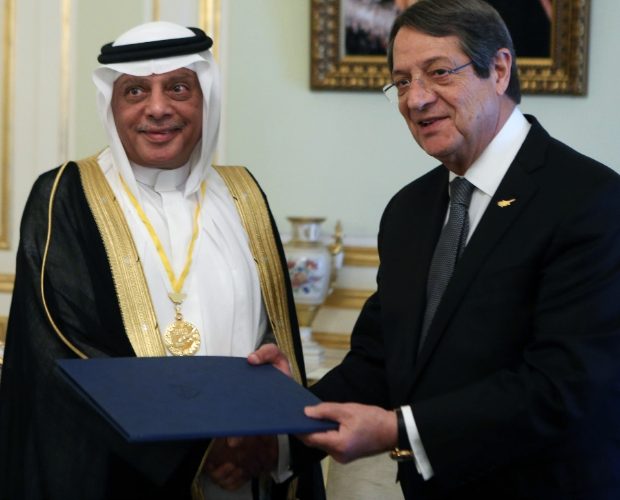 President Anastasiades awarded the Medal of Exceptional Offer to the Honorary Consul of the Republic of Cyprus to Saudi Arabia