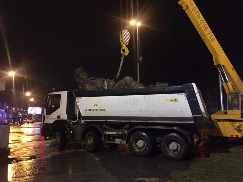"A ""Skopje 2014"" monument is removed"