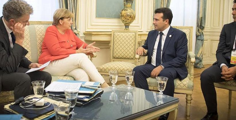 Zaev and his delegation in Berlin-Meeting with Merkel