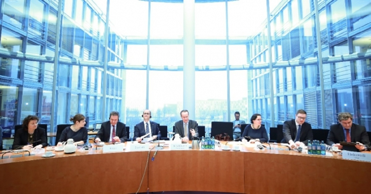 Albania Minister for Europe and Foreign Affairs Ditmir Bushati at a hearing in the German Bundestag