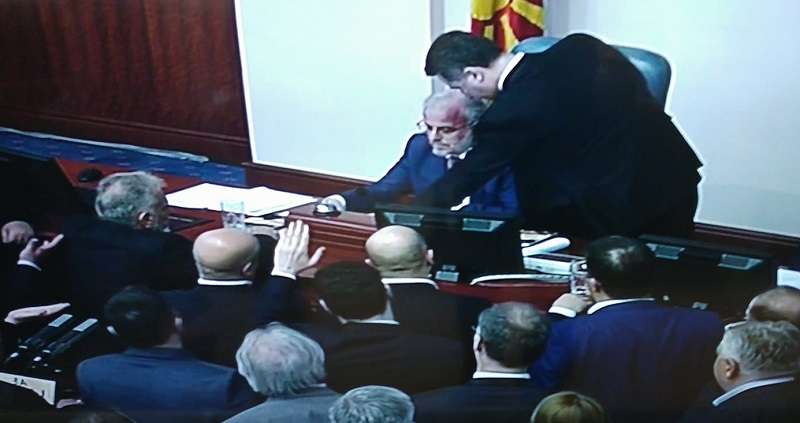 Gruevski physically attacks Speaker Xhaferi in parliament (VIDEO)