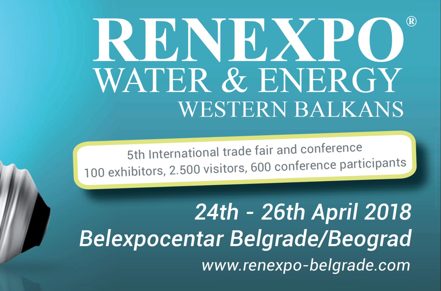 5th RENEXPO WATER & ENERGY fair in Belgrade, April 24-26