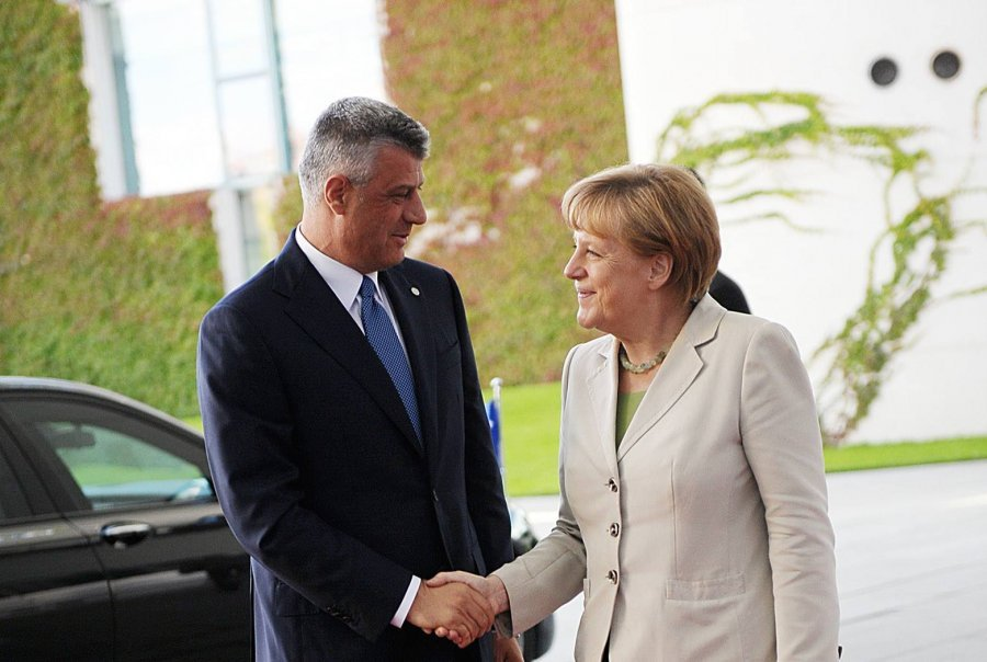 President of Kosovo talks to the German chancellor about the relations between Kosovo and Serbia