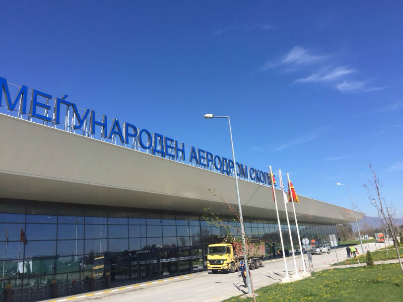 Skopje Airport new sign in place