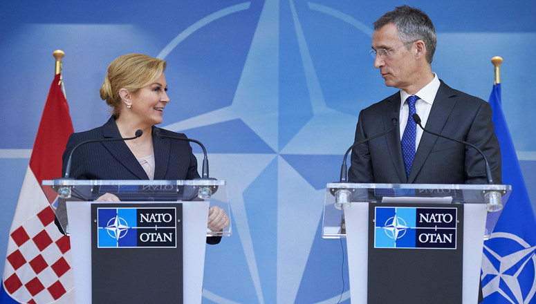 The Croatian president meets NATO'sStoltenberg in Brussels