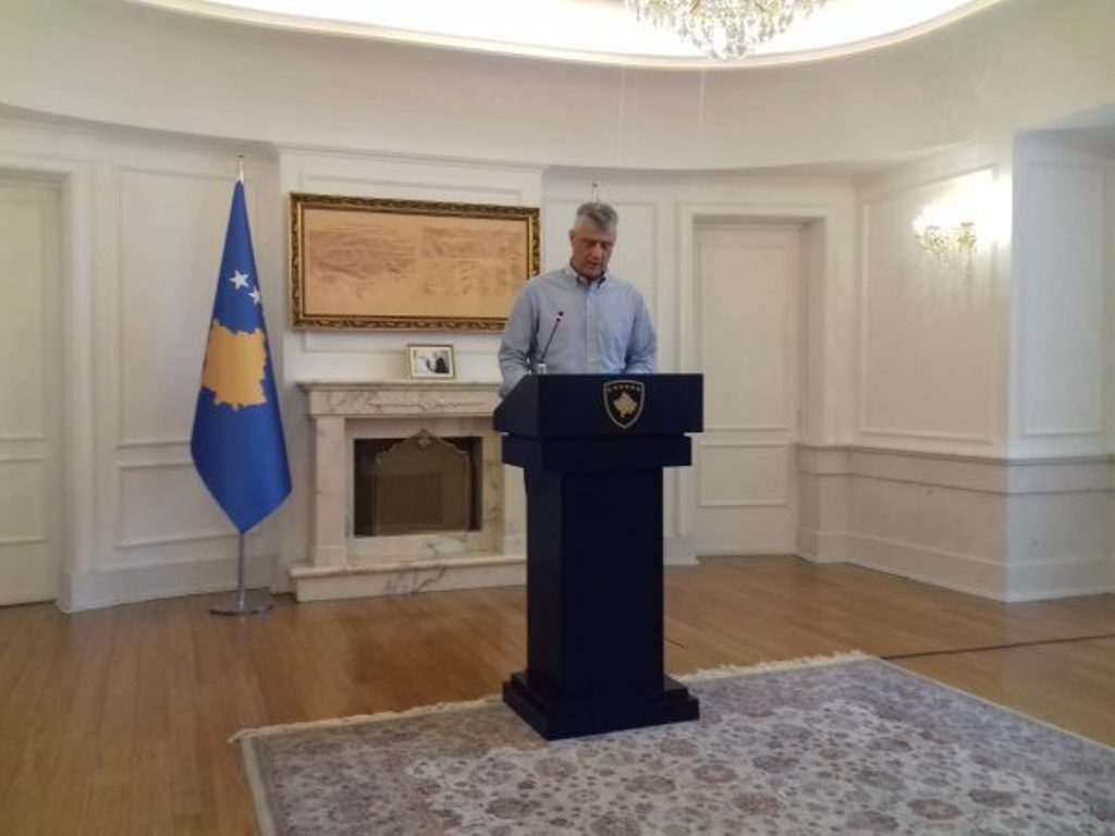 There will be no divisions, no autonomy and no territorial exchanges, president Thaci says