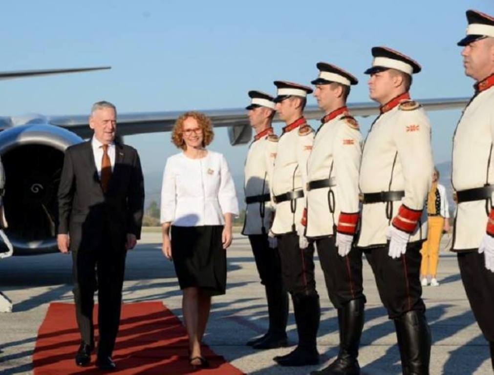 US Defence Secretary Mattis arrives in Skopje