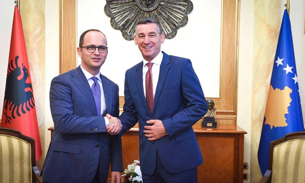 Albanian Foreign minister Bushati meets Kosovo's parliamentary speaker Veseli