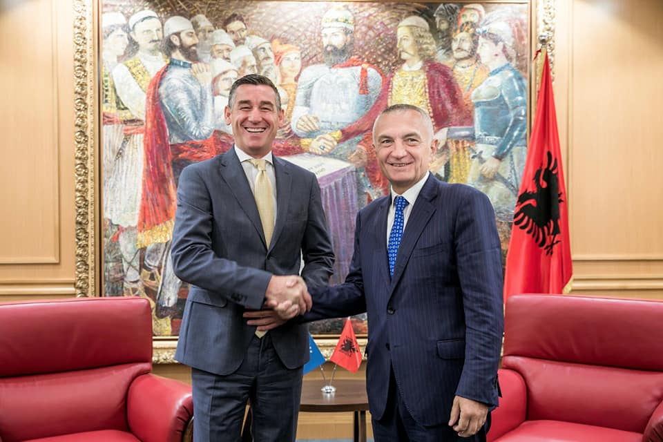 Albanian president Meta receives Kosovo's parliamentary speaker Veseli