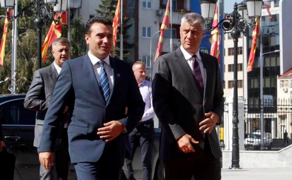 Thaci visits Skopje and offers his support for the referendum