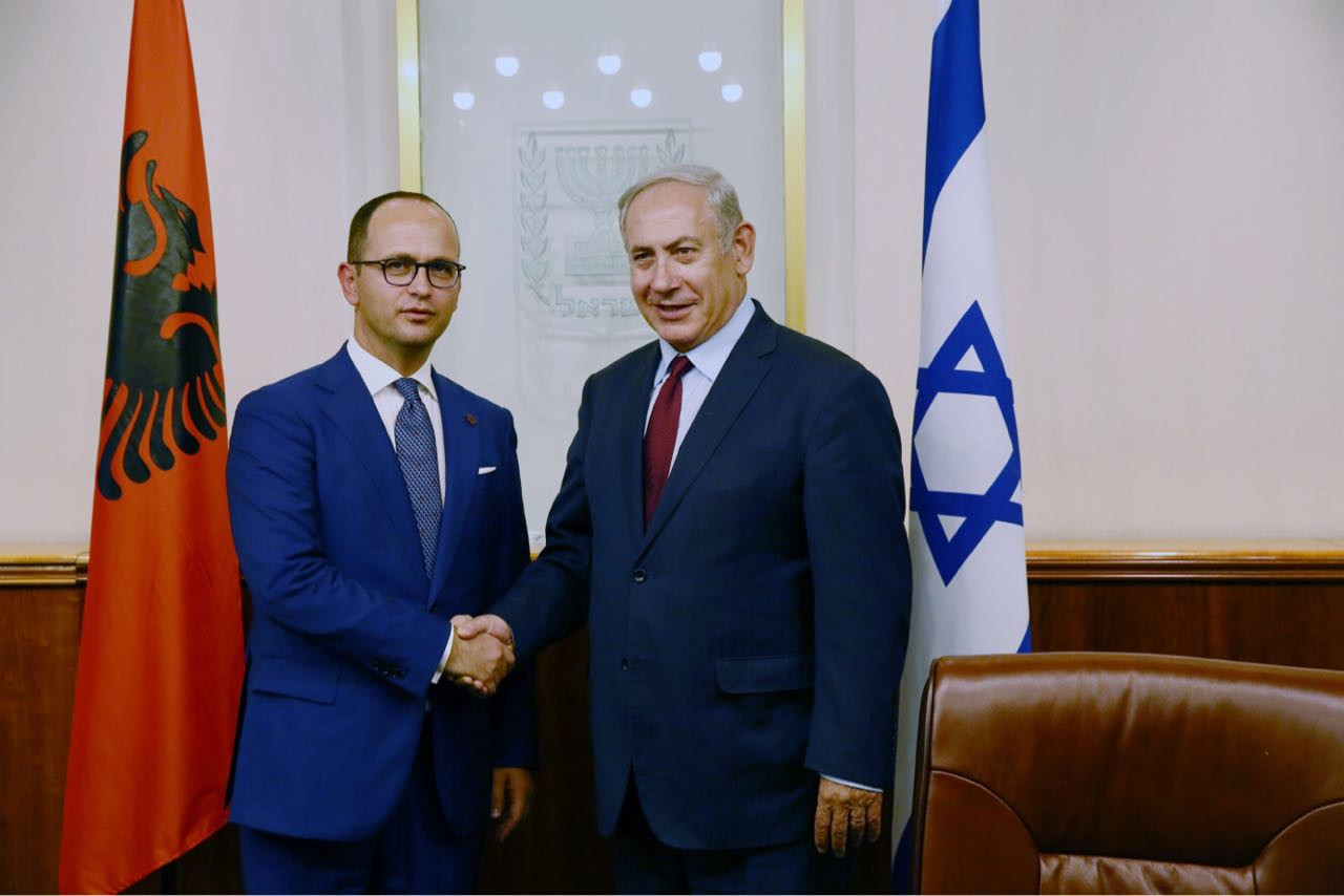 Albanian Foreign minister Bushati meets with the Israeli PM