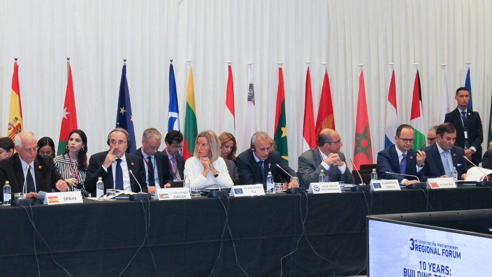 Albania's Ditmir Bushati attends the regional forum on the challenges that Euro-Mediterranean region faces