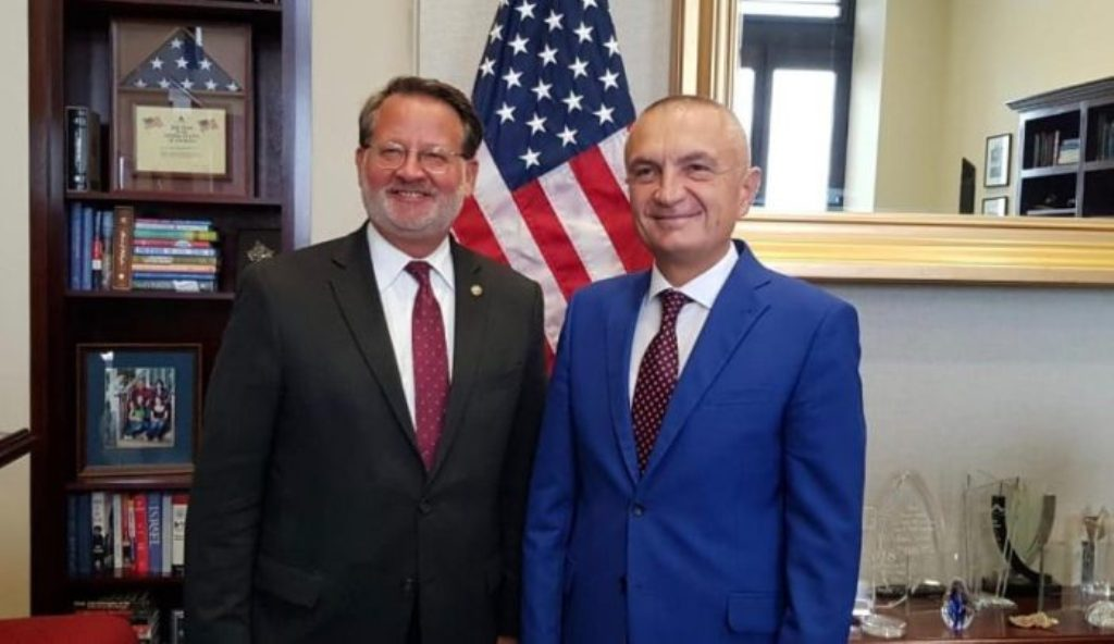 Albanian president meets with the chairman of the  US Senate Albanian Issues Caucus Gary Peters