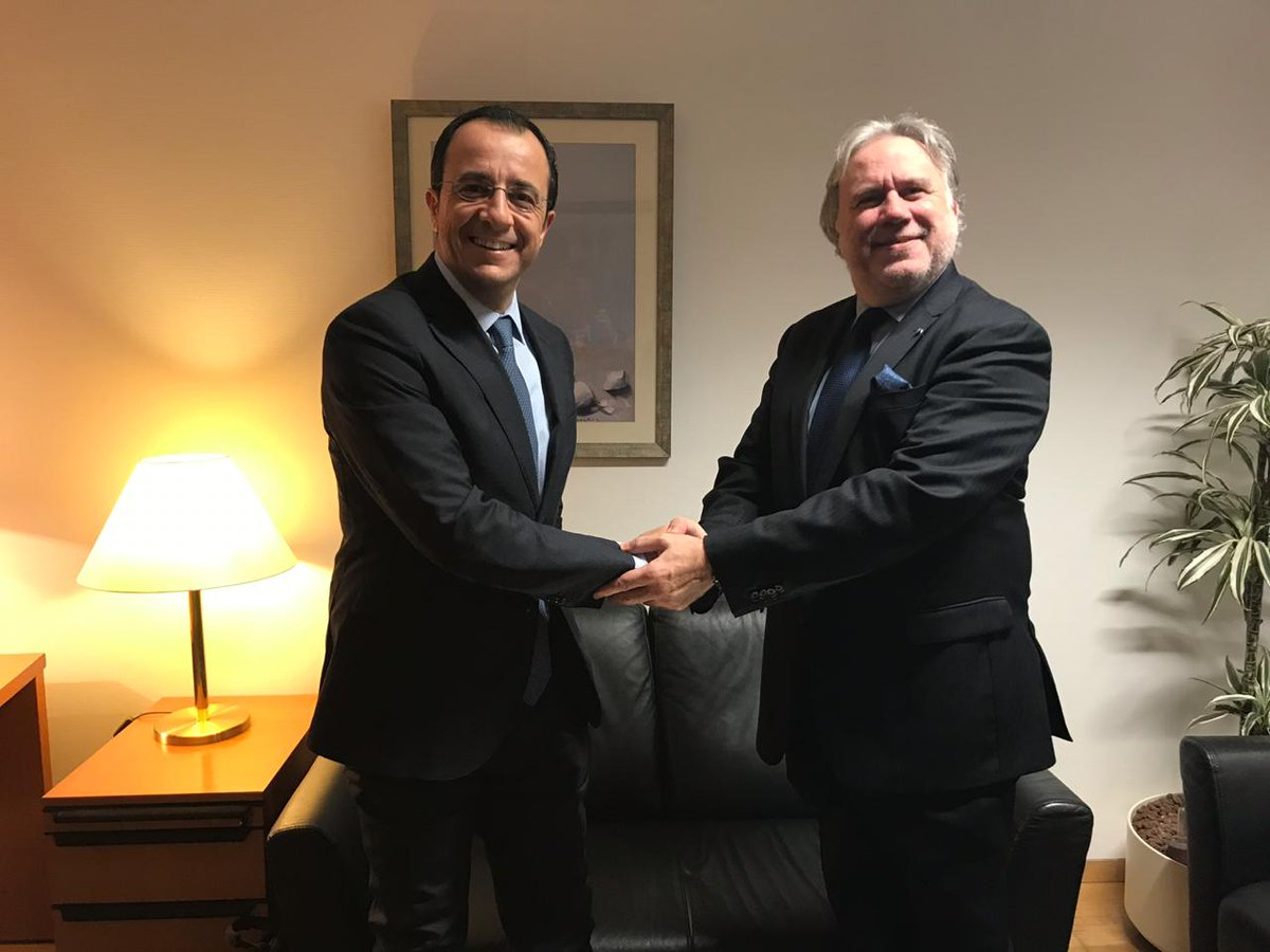 Katrougalos met with Christodoulides and Le Drian in Brussels