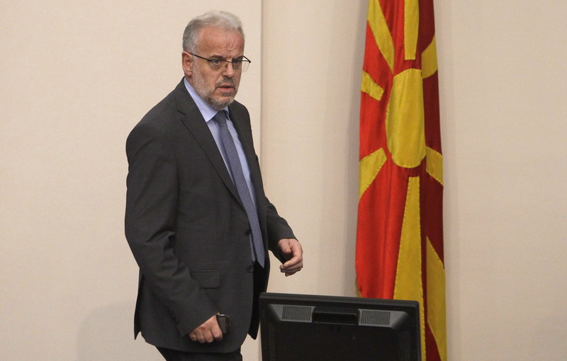 Parliamentary speaker Xhaferi opens the session in Albanian, VMRO-DPMNE objects
