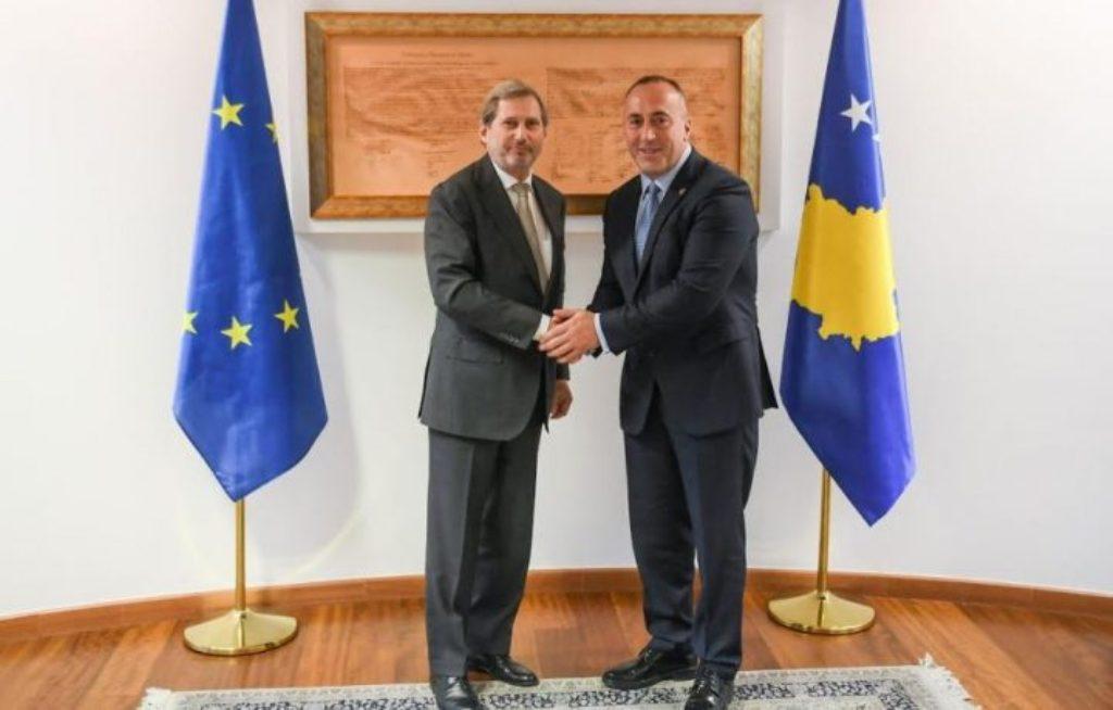 Kosovo's PM Haradinaj meets commissioner Hahn in Pristina