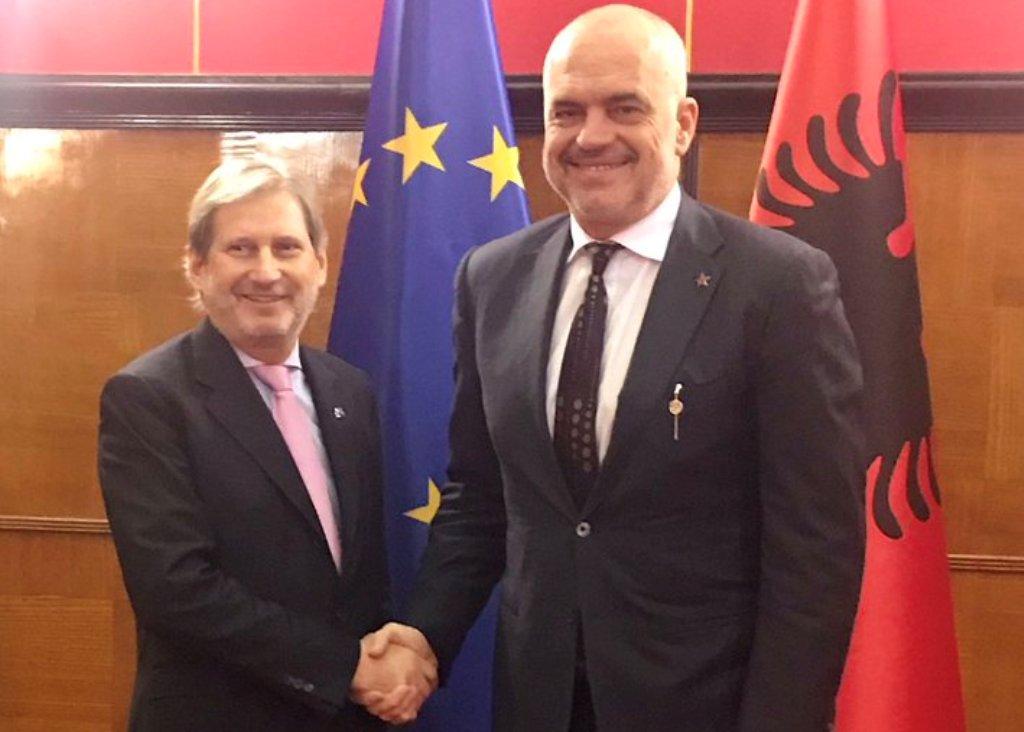 EU Commissioner Johannes Hahn and Albanian Prime Minister Edi Rama meet in Tirana