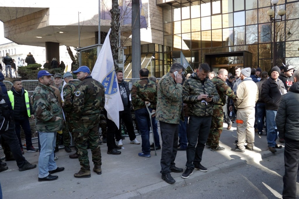 Army of Republic Bosnia and Herzegovina veterans protest in Sarajevo