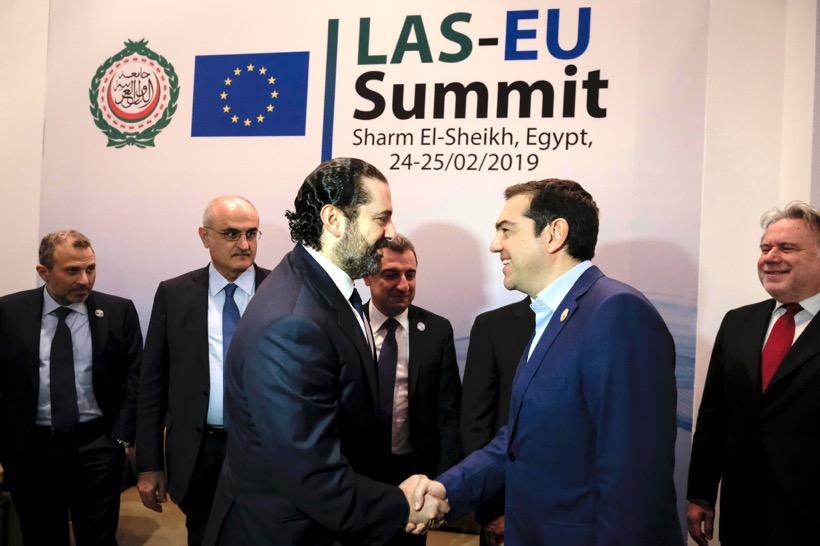 Tsiprasmet with his Lebanese counterpart SaadHariri