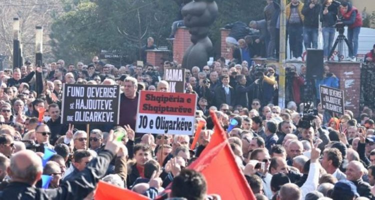 Opposition in Albania holds another anti-government rally in front of parliament