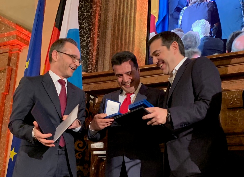 Zaev and Tsipras awarded with Ewald von Kleist Award for resolving the name dispute