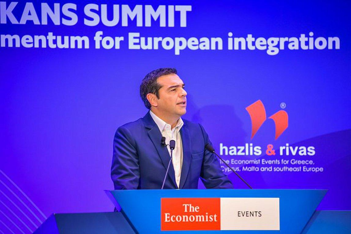 Alexis Tsipras attends the Economist conference in Skopje